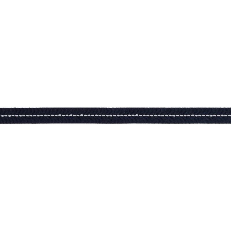 Тесьма 1см киперная с декоративной строчкой 45м/рул, цв:т.синий