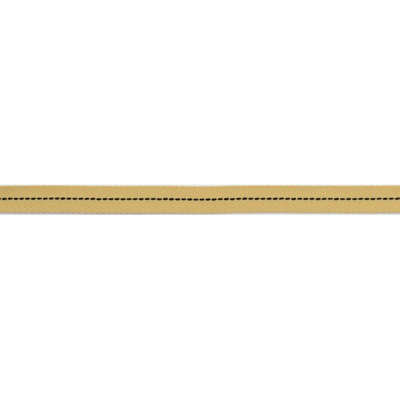 Тесьма 1см киперная с декоративной строчкой 45м/рул, цв:бежевый