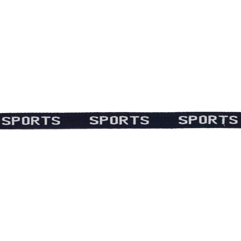 Тесьма 1см жаккард SPORTS 43-45м/рул, цв: т.синий/белый