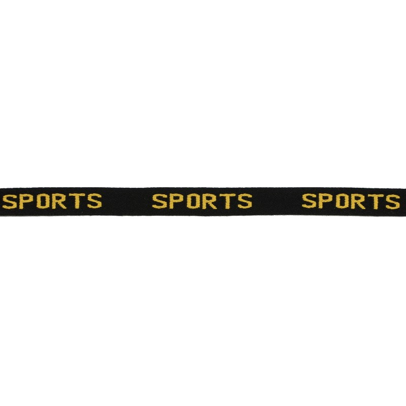 Тесьма 1см жаккард SPORTS 43-45м/рул, цв: черный/желтый