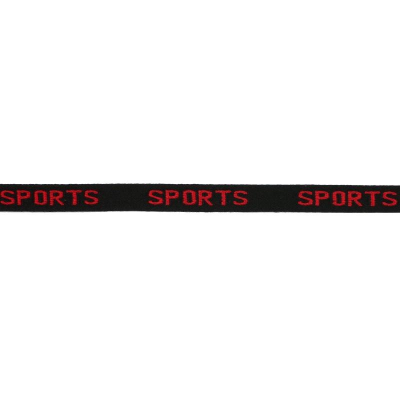 Тесьма 1см жаккард SPORTS 43-45м/рул, цв: черный/красный