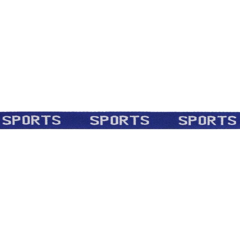 Тесьма 1см жаккард SPORTS 43-45м/рул, цв: синий/белый
