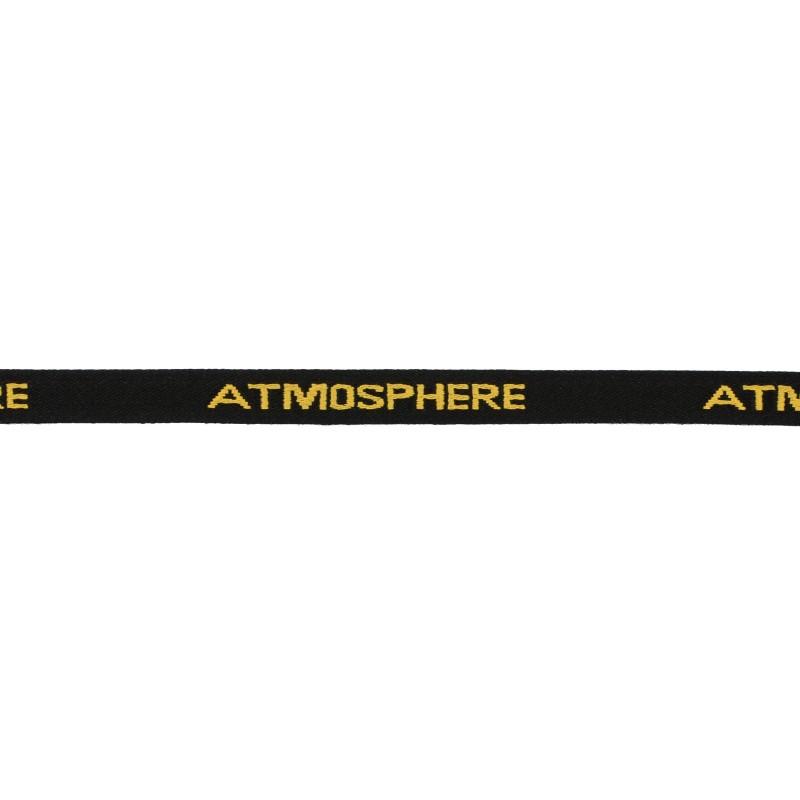 Тесьма 1см жаккард ATMOSPHERE 43-45м/рул, цв: черный/желтый