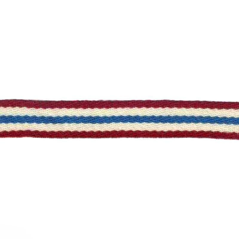 Тесьма сутаж 1см 43-45м/рулон, цв:бордовый/молочный/голубой