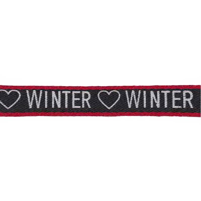 """Тесьма сутаж/принт """"WINTER"""" 1см 43-45м/рулон, цв:черный/красный/белый"""