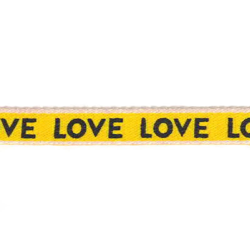 "Тесьма сутаж/принт ""LOVE"" 1см 43-45м/рулон, цв:белый/желтый/черный"