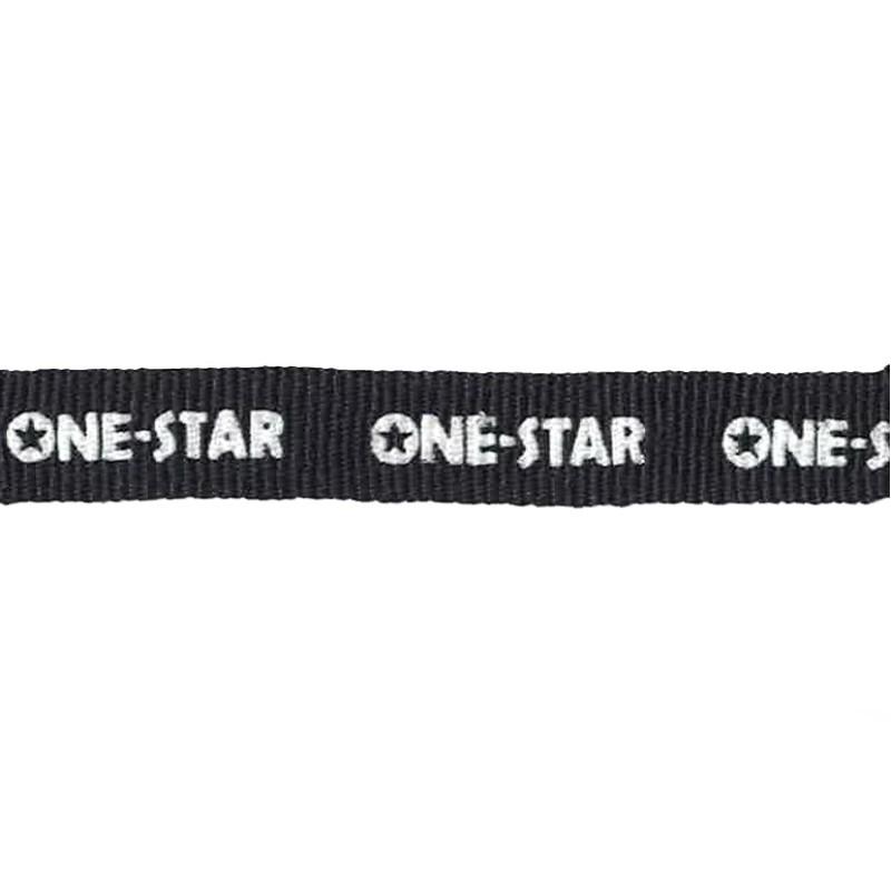 """Тесьма репс/принт """"ONE-STAR"""" 1см 43-45м/рулон, цв:черный/белый"""