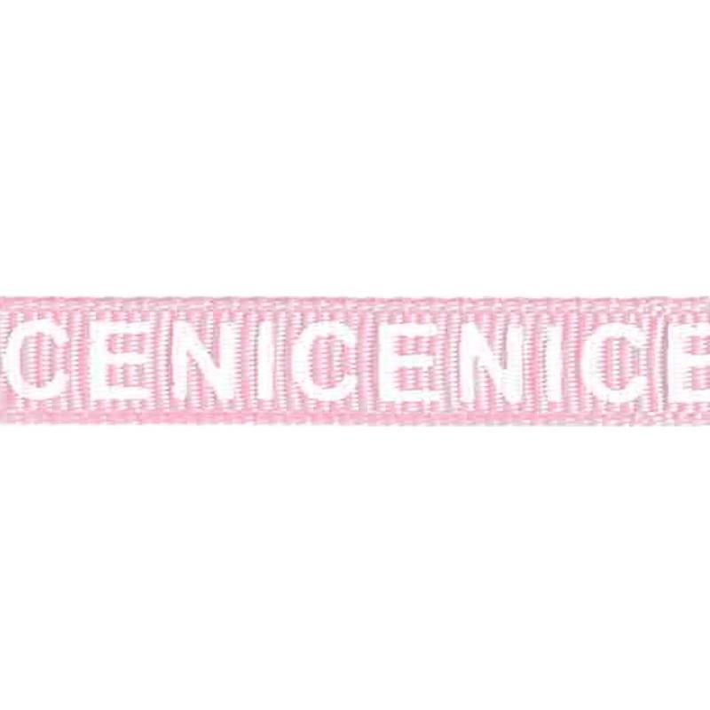 """Тесьма репс/принт """"NICE"""" 0,9см 43-45м/рулон, цв:розовый/белый"""