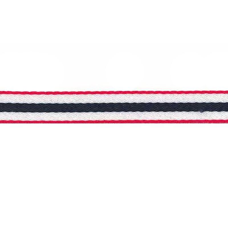 Тесьма сутаж 1см 43-45м/рулон, цв:белый/синий в красной окантовке