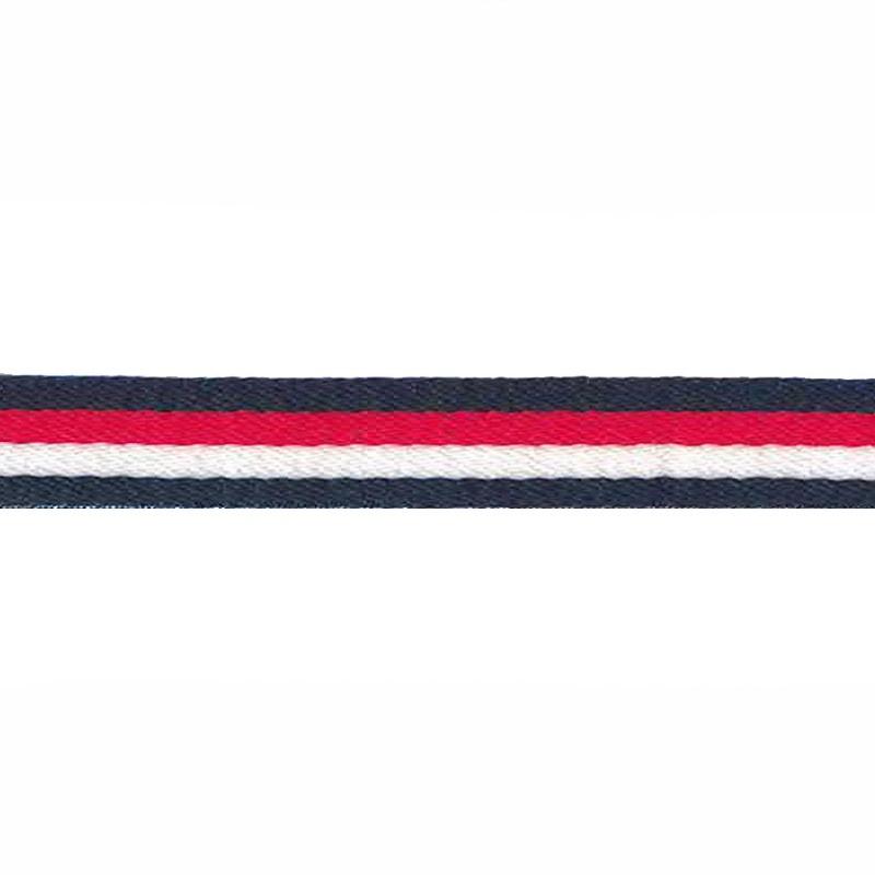 Тесьма сутаж 1см 43-45м/рулон, цв:т.синий/красный/белый
