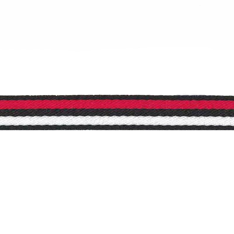 Тесьма сутаж 1см 43-45м/рулон, цв:черный/красный/белый