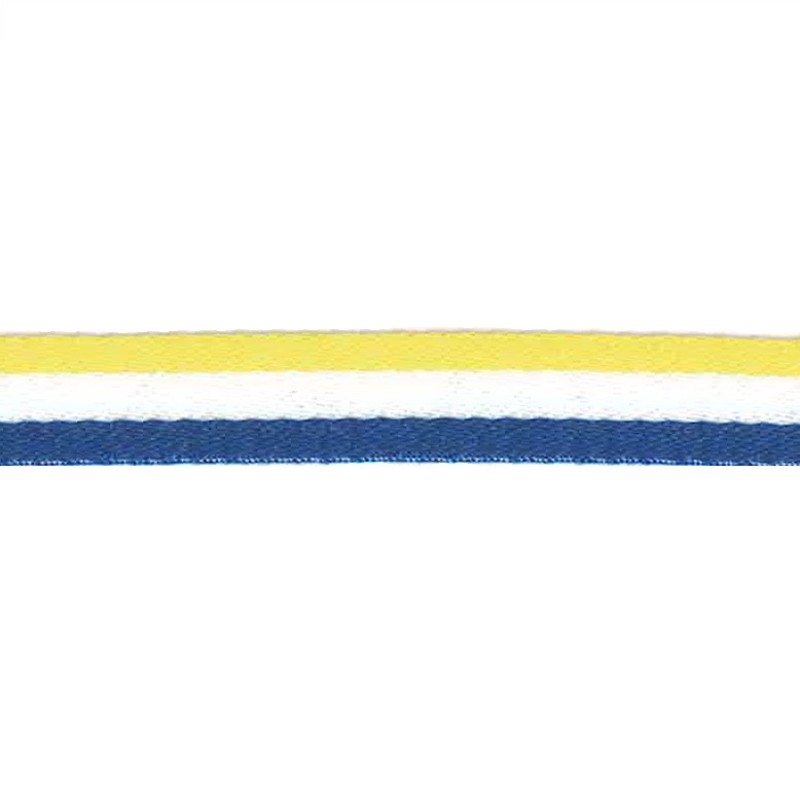 Тесьма сутаж 1см 43-45м/рулон, цв:желтый/голубой/белый