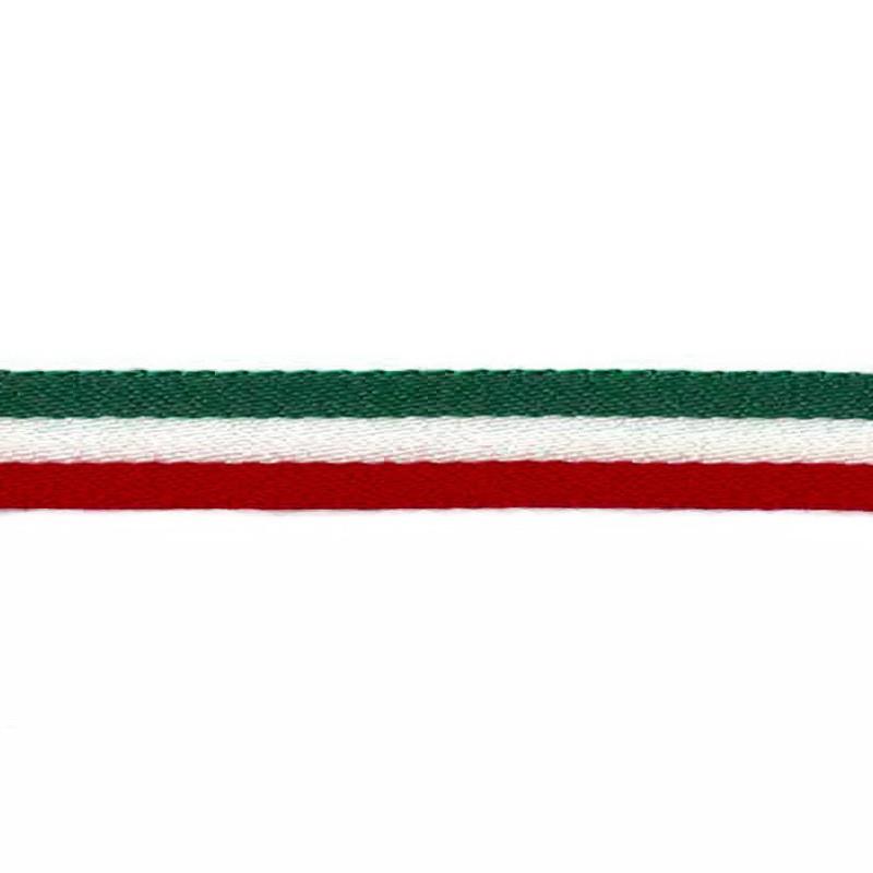 Тесьма сутаж 1см 43-45м/рулон, цв:зеленый/белый/красный