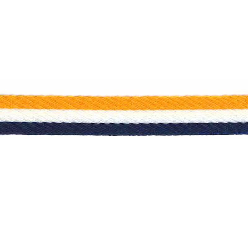 Тесьма сутаж 1см 43-45м/рулон, цв:желтый/белый/т.синий