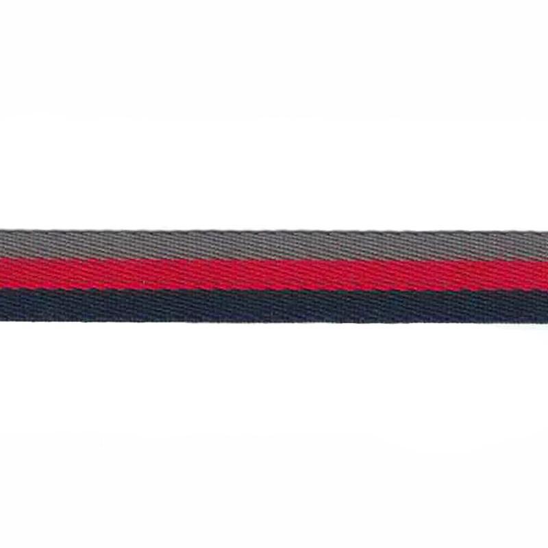 Тесьма сутаж 1см 43-45м/рулон,цв:т.синий/красный/серый