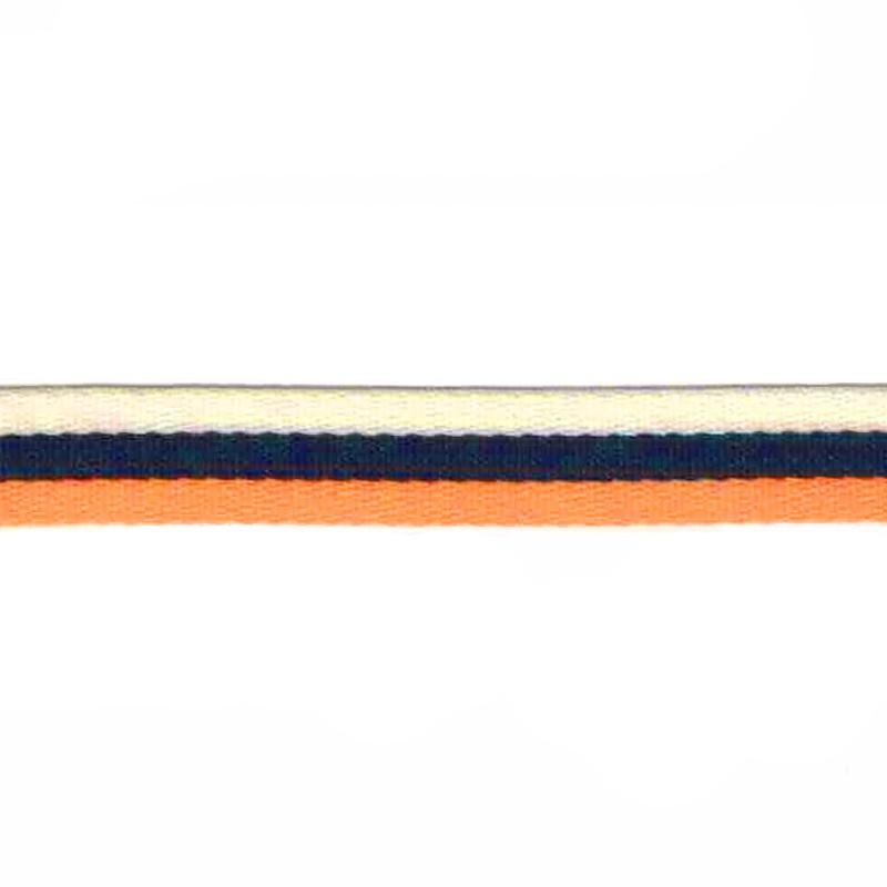 Тесьма сутаж 1см 43-45м/рулон, цв:оранжевый/т.синий/молочный