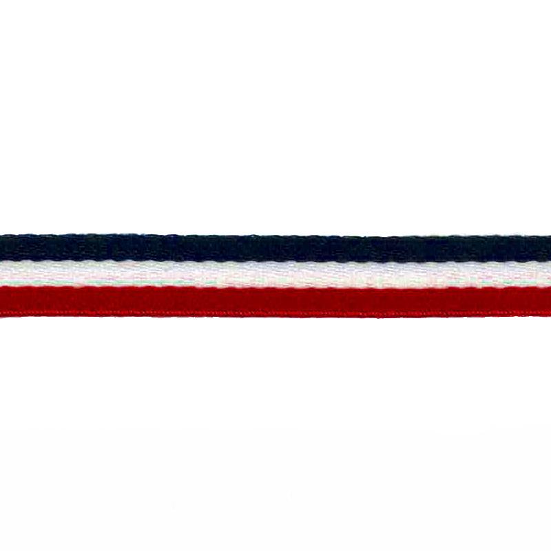 Тесьма сутаж 1см 43-45м/рулон, цв:красный/белый/т.синий