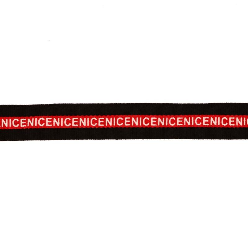 Тесьма репс/принт NICE 2см 43-45м/рулон, цв:черный/красный/принт белый