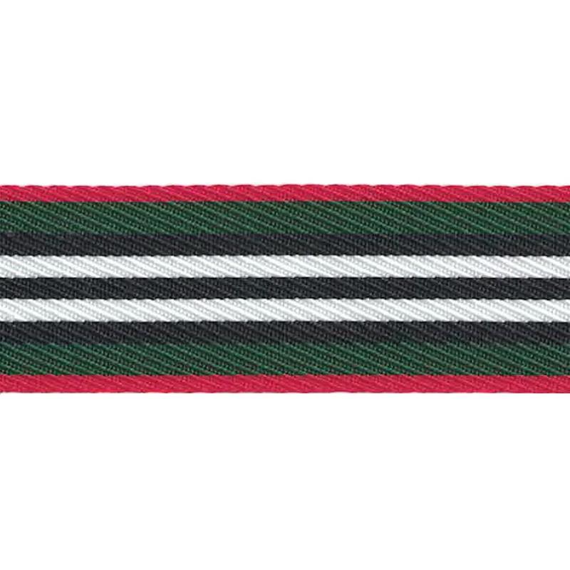 Тесьма репс 2,5см 43-45м/рулон,цв:зеленый/белый/красный/черный