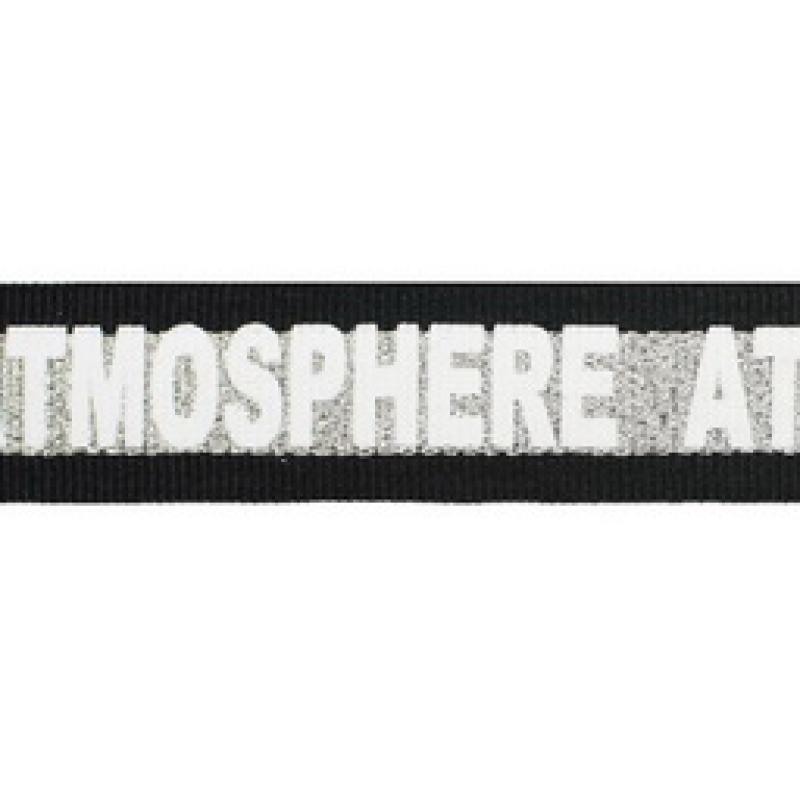 Тесьма репс принт ATMOSPHERE 2,5см 43-45м/рулон цв:черный/серебро