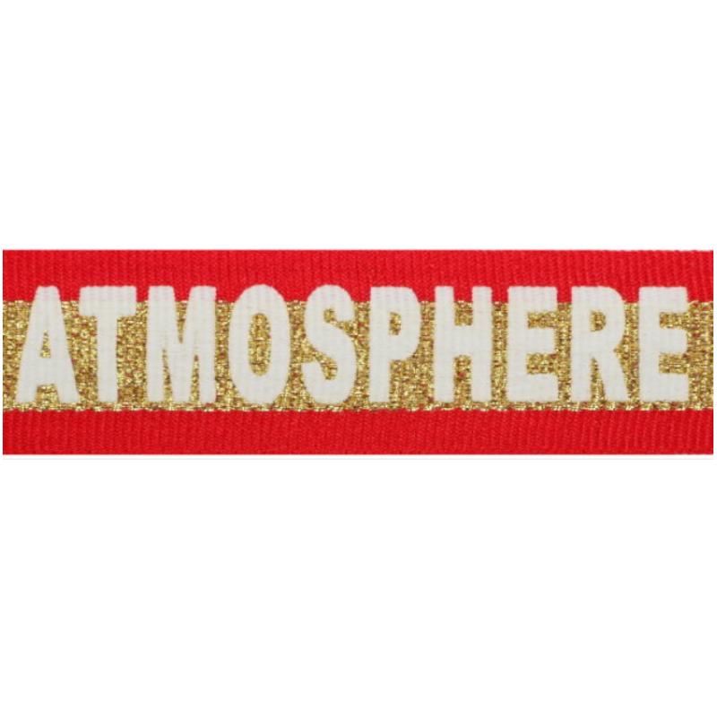 Тесьма репс принт ATMOSPHERE 2,5см 43-45м/рулон, цв:красный/золото