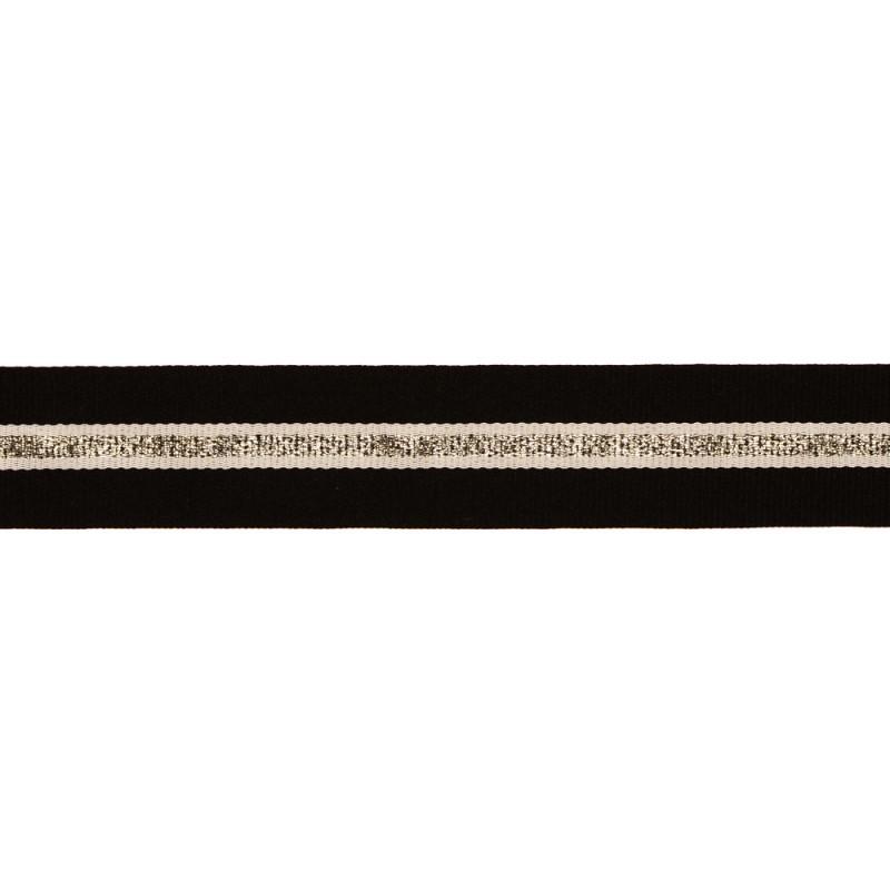 Тесьма репс/люрекс 1,5см 43-45м/рулон, цв:черный/белый/св.серебро
