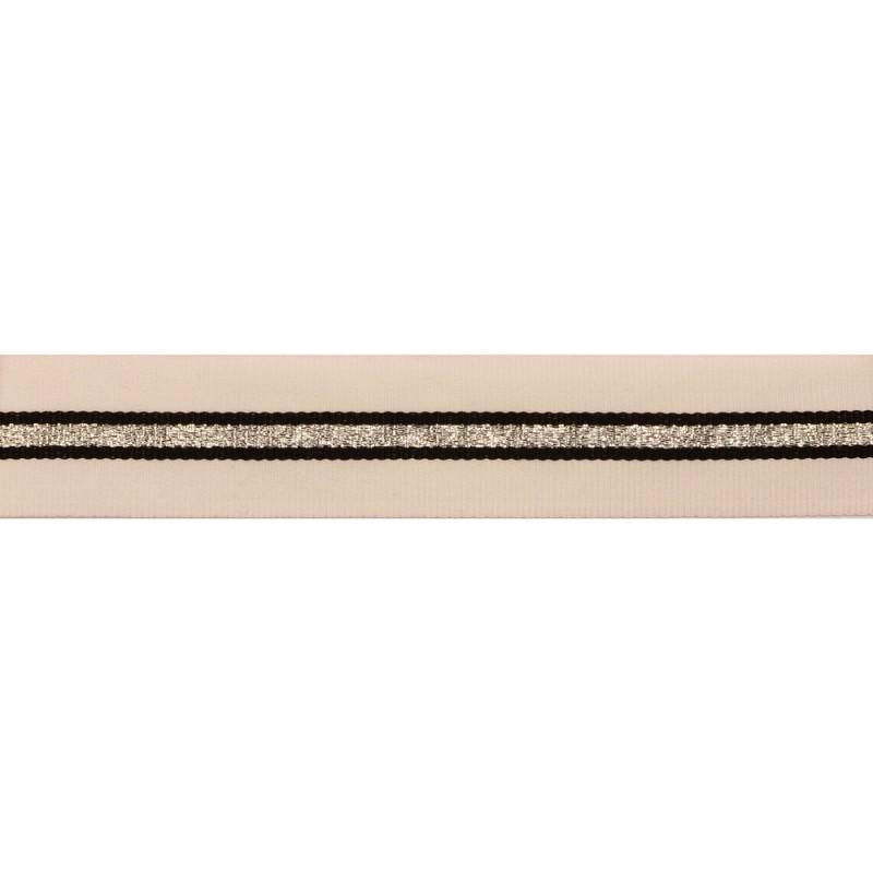 Тесьма репс/люрекс, 1,5см 43-45см/рулон, цв:белый/черный/св.серебро