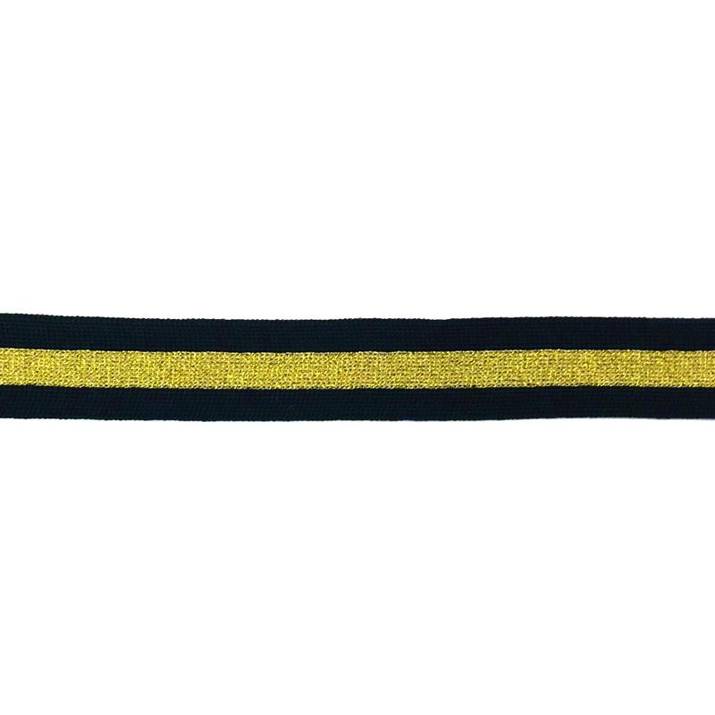 Тесьма трикотажная полиэстер/люрекс 2,5см 68-70м/рулон, цв:черный/золото