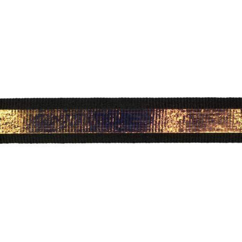 Тесьма репс 2см с перламутровой вставкой 1см, цв: черный