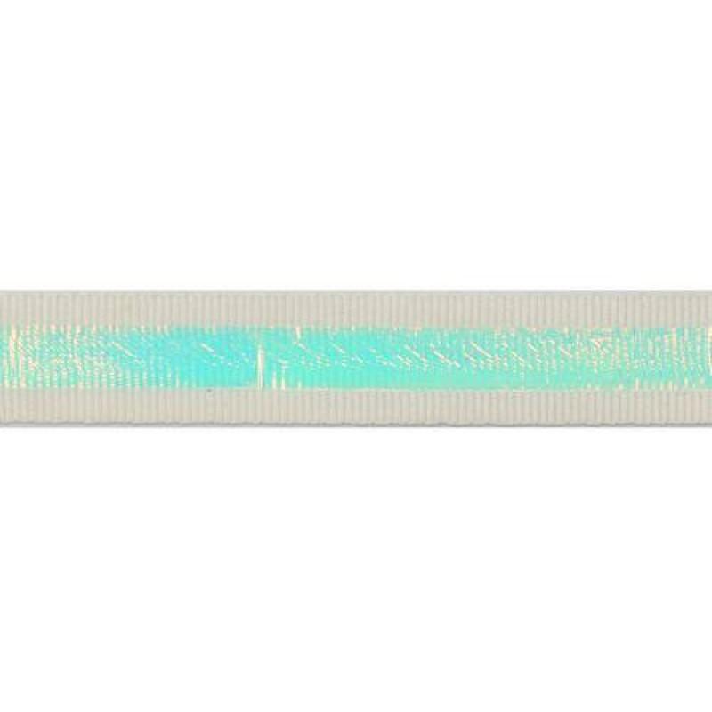 Тесьма репс 2см с перламутровой вставкой 1см, цв: белый