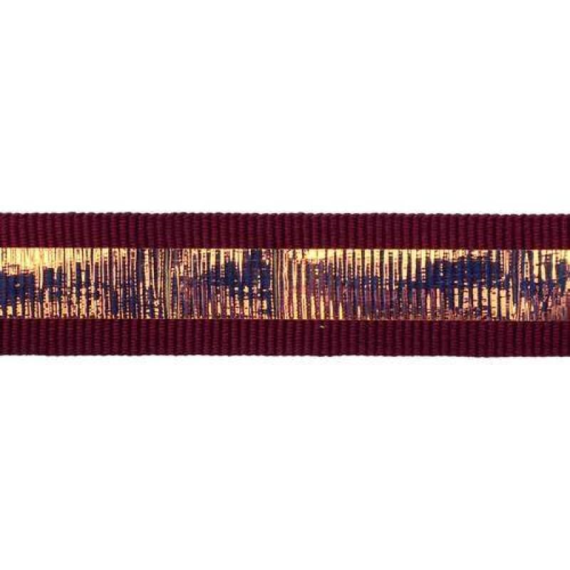 Тесьма репс 2см с перламутровой вставкой 1см, цв: фиолетовый