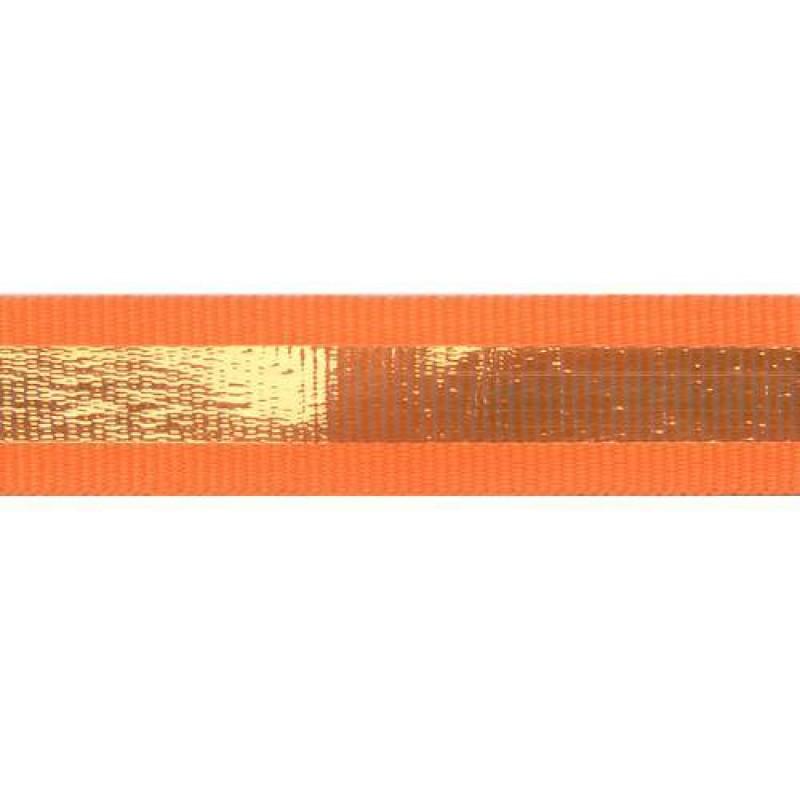 Тесьма репс 2см с перламутровой вставкой см, цв: оранжевый неон