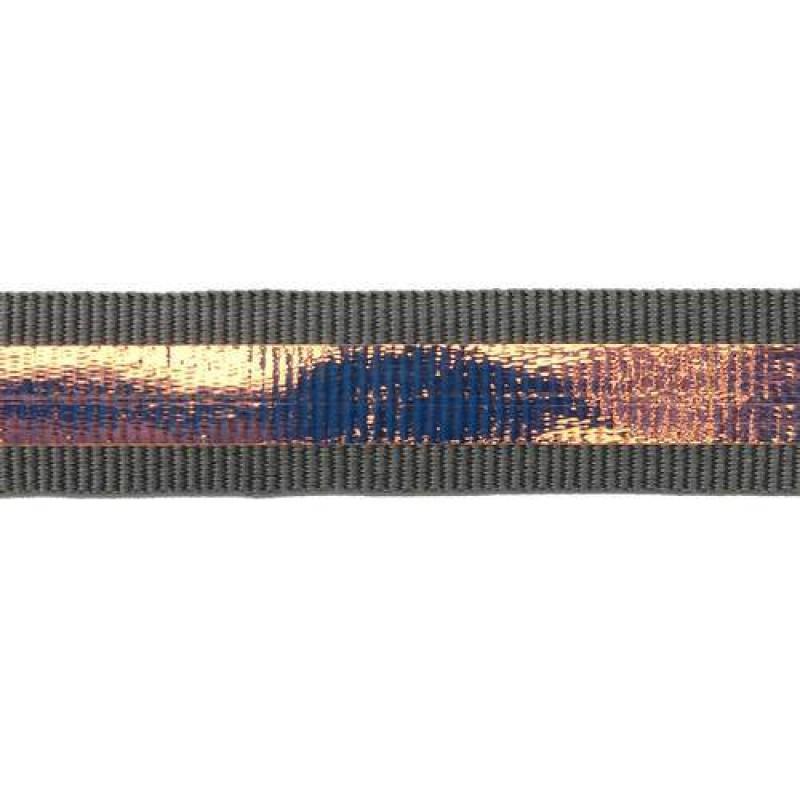 Тесьма репс 2см с перламутровой вставкой 1см, цв: серый