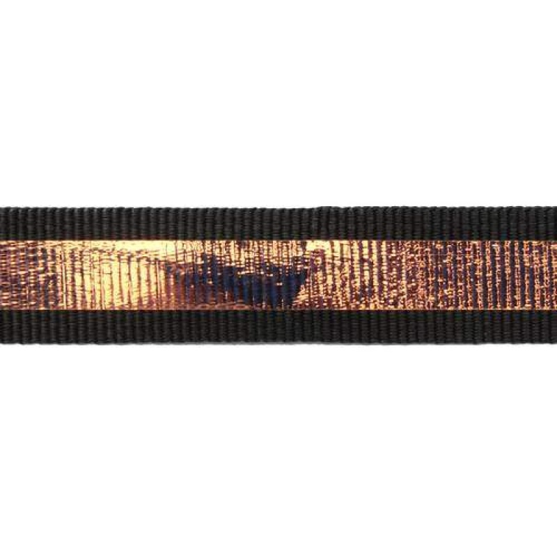 Тесьма репс 2см с перламутровой вставкой 1см, цв: темно-серый