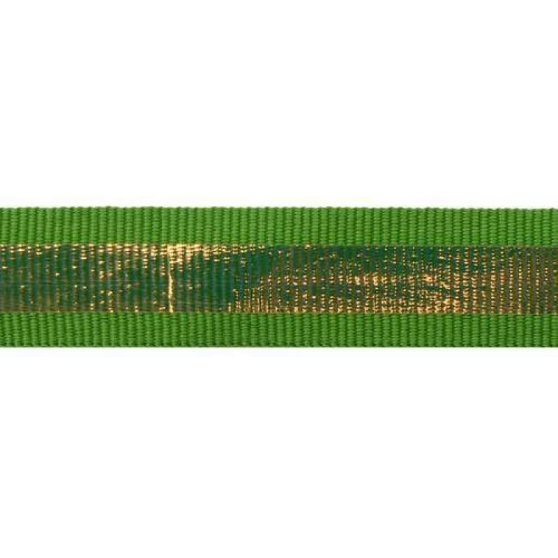 Тесьма репс 2см с перламутровой вставкой 1см, цв: зеленый