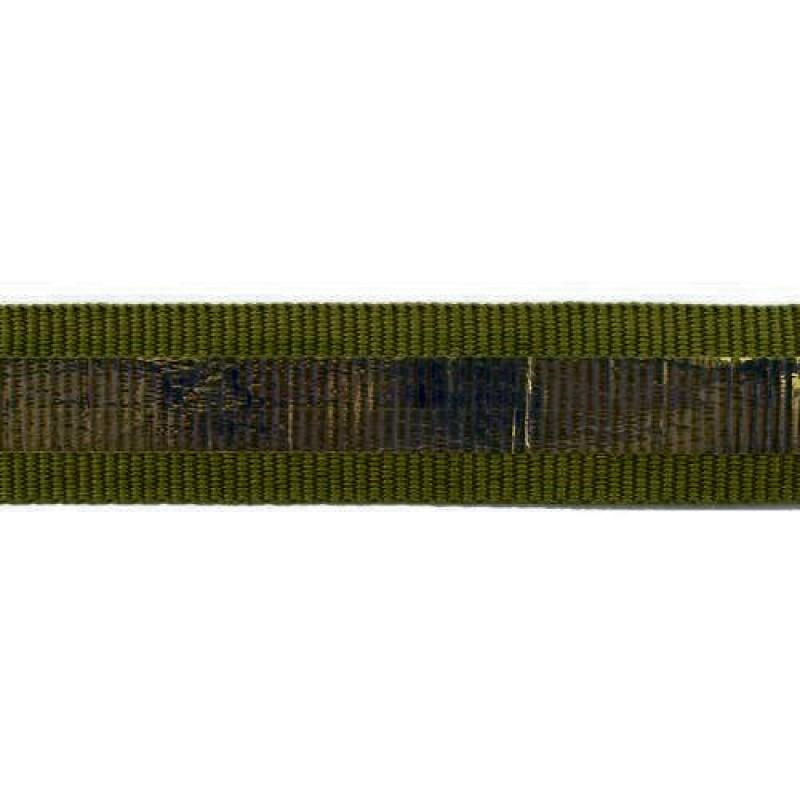 Тесьма репс 2см с перламутровой вставкой 1см, цв: болотный