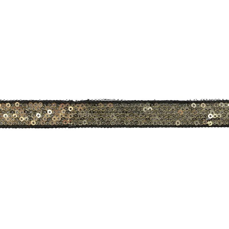 Тесьма декоративная с пайетками 1,5см 25-27м/рулон,цв:золото на черной сетке