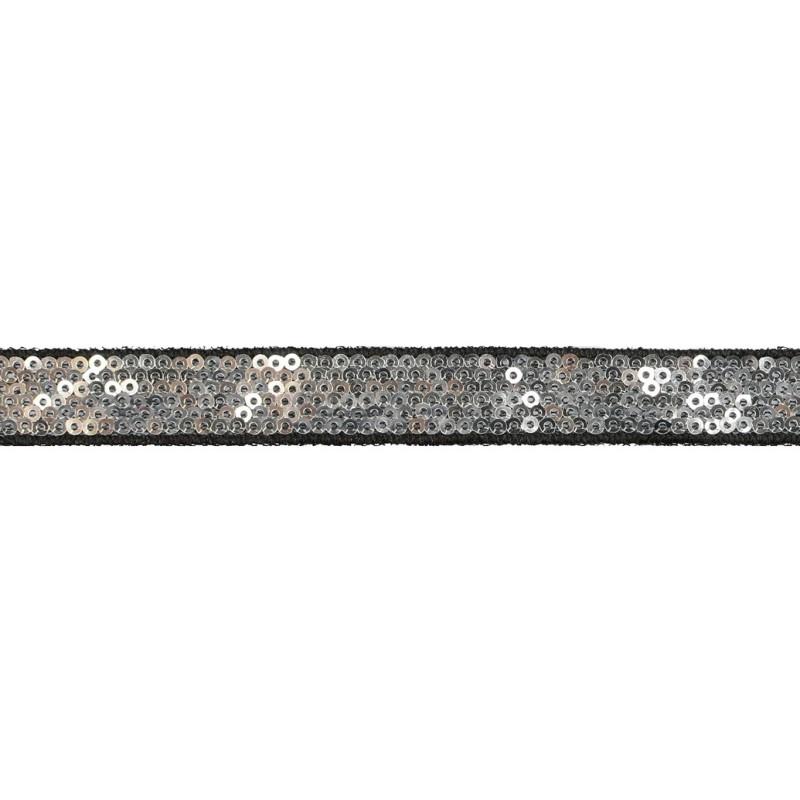 Тесьма декоративная с пайетками 1,5см 25-27м/рулон,цв:серебро на черной сетке