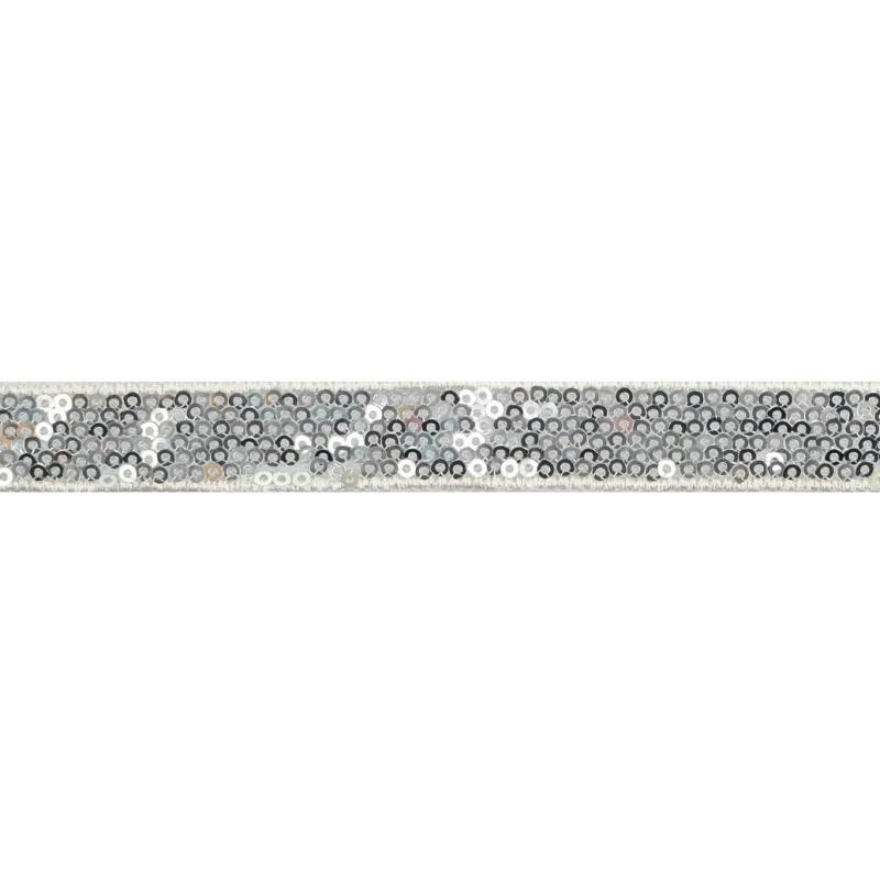 Тесьма декоративная с пайетками 1,5см 25-27м/рулон,цв:серебро на белой сетке