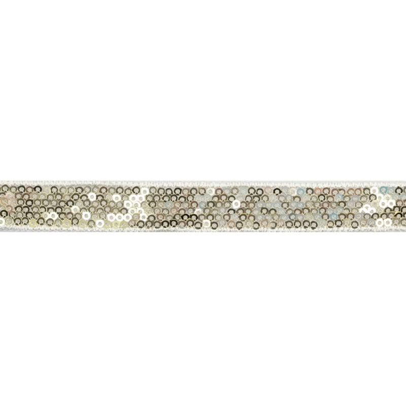 Тесьма декоративная с пайетками 1,5см 25-27м/рулон,цв:золото на белой сетке