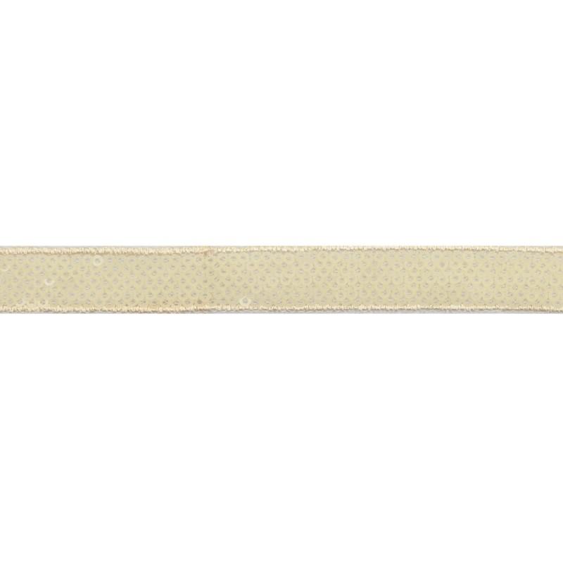 Тесьма декоративная с пайетками 1,5см 25-27м/рулон,цв:св.бежевый на бежевой сетке
