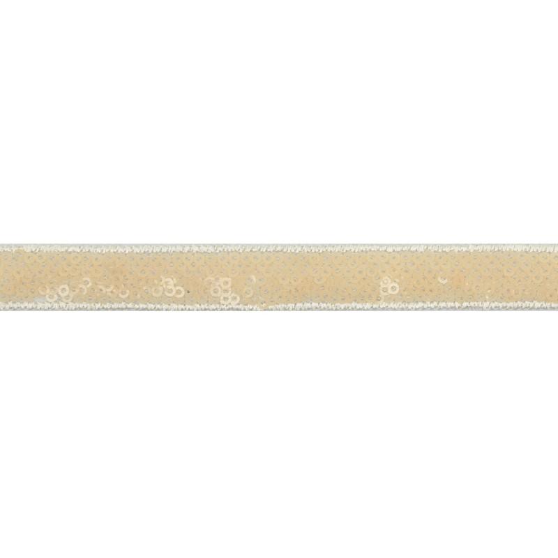 Тесьма декоративная с пайетками 1,5см 25-27м/рулон,цв:бежевый на белой сетке