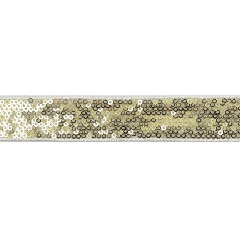 Тесьма декоративная с пайетками 2,5-2,7см 25-27м/рулон,цв:золото на белой сетке