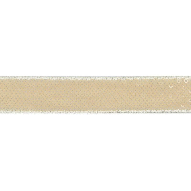 Тесьма декоративная с пайетками 2,5-2,7см 25-27м/рулон,цв:бежевый на белой сетке