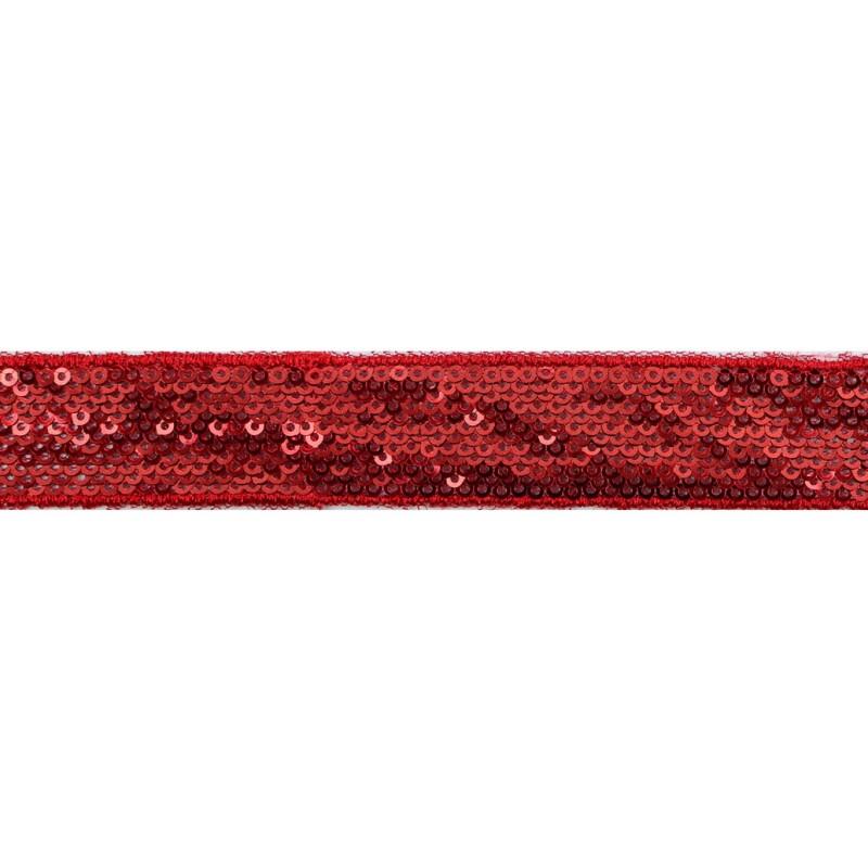 Тесьма декоративная с пайетками 2,5-2,7см 25-27м/рулон,цв:красный на красной сетке