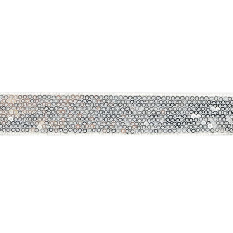 Тесьма декоративная с пайетками 2,5-2,7см 25-27м/рулон,цв:серебро на белой сетке