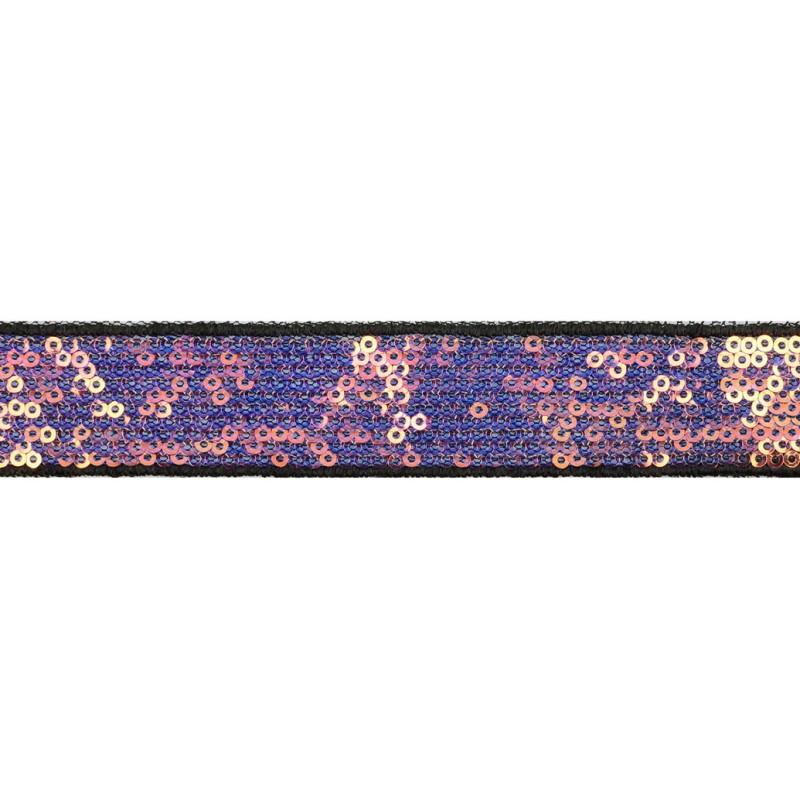 Тесьма декоративная с пайетками 2,5-2,7см 25-27м/рулон,цв:т.мультиколор на черной сетке