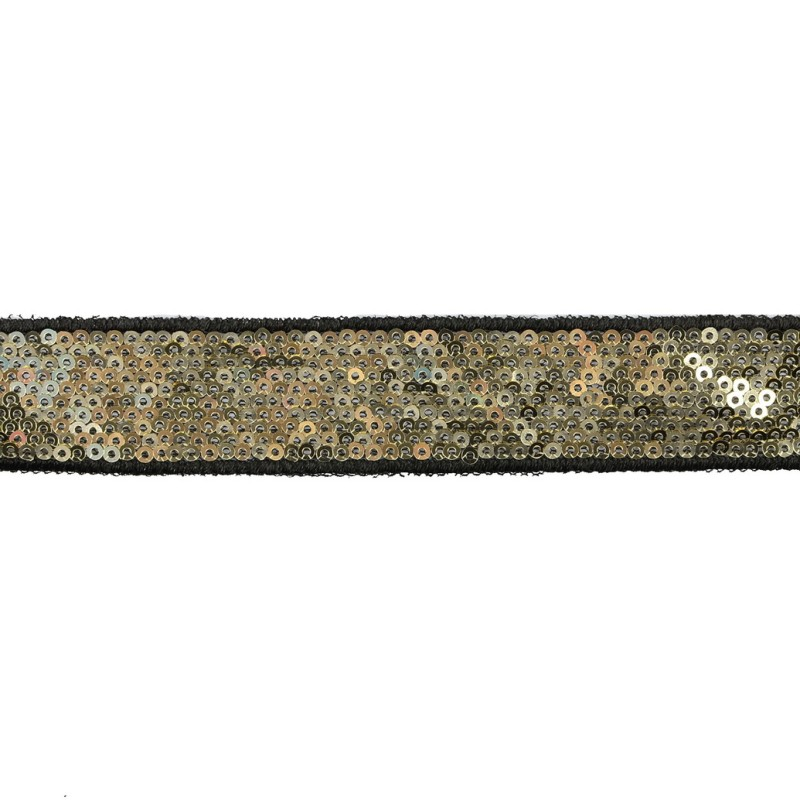 Тесьма декоративная с пайетками 2,5-2,7см 25-27м/рулон,цв:золото на черной сетке