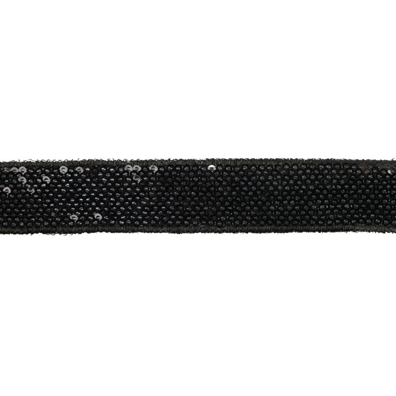 Тесьма декоративная с пайетками 2,5-2,7см 25-27м/рулон,цв:черный на черной сетке