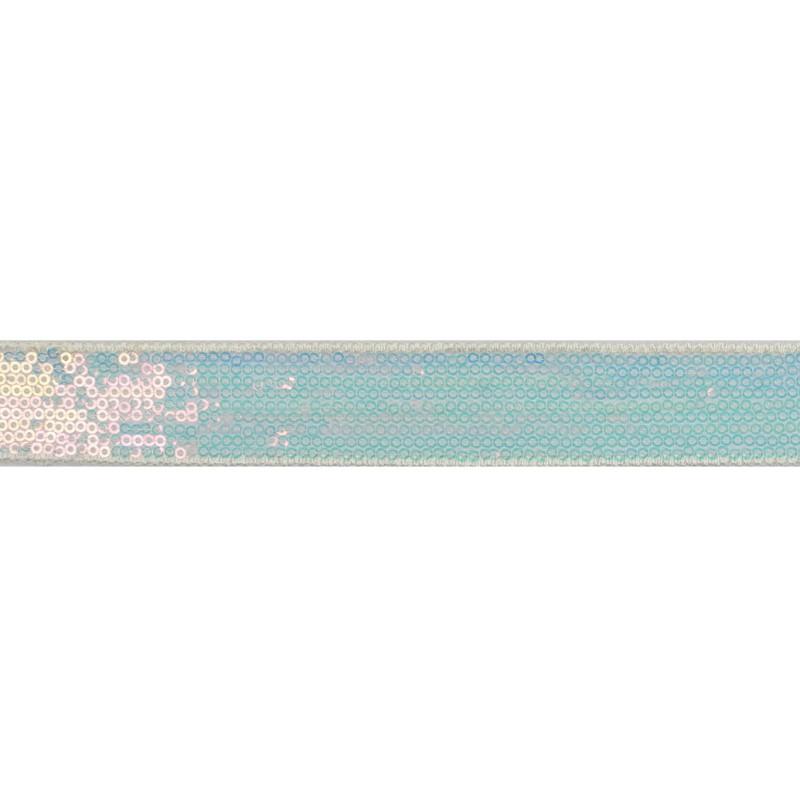 Тесьма декоративная с пайетками 2см 25-27м/рулон,цв:св.перламутр на белой сетке